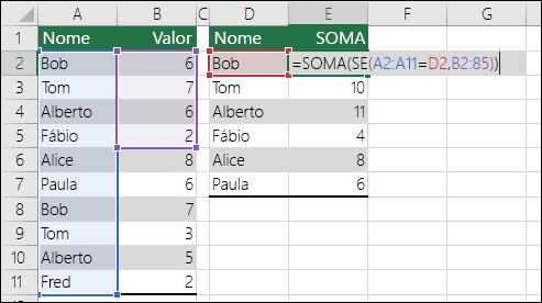 Exemplo de uma fórmula de matriz com referências de intervalo incompatíveis que causam um erro #N/D.  A fórmula na célula E2 é {=SOMA(SE(A2:A11=D2;B2:B5))} e você deve inseri-la usando o comando Ctrl+Shift+Enter.