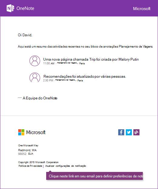 Um exemplo de mensagem de email de notificação do OneNote