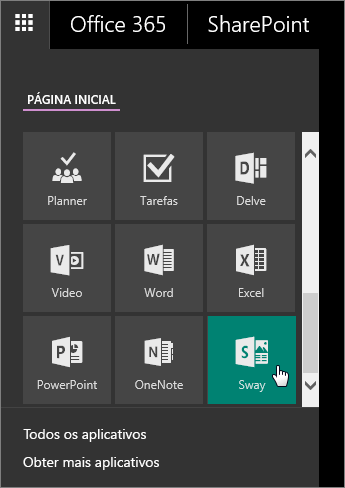 Captura de tela do Painel de Aplicativo com o bloco do Sway ativo.