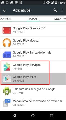 Limpar cache do aplicativo Google Play Store