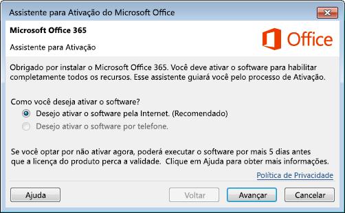 Mostra o Assistente para Ativação do Office 365