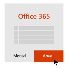 Opções de assinatura Mensal e Anual, com uma seta apontando para Anual.