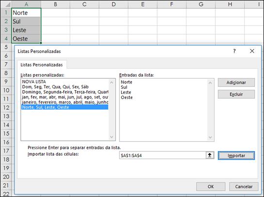 Diálogo Lista Personalizada de Arquivo > Opções > Avançado > Geral > Editar Listas Personalizadas. Para o Excel 2007, clique no botão Office > Opções do Excel > Popular > Editar Listas Personalizadas.