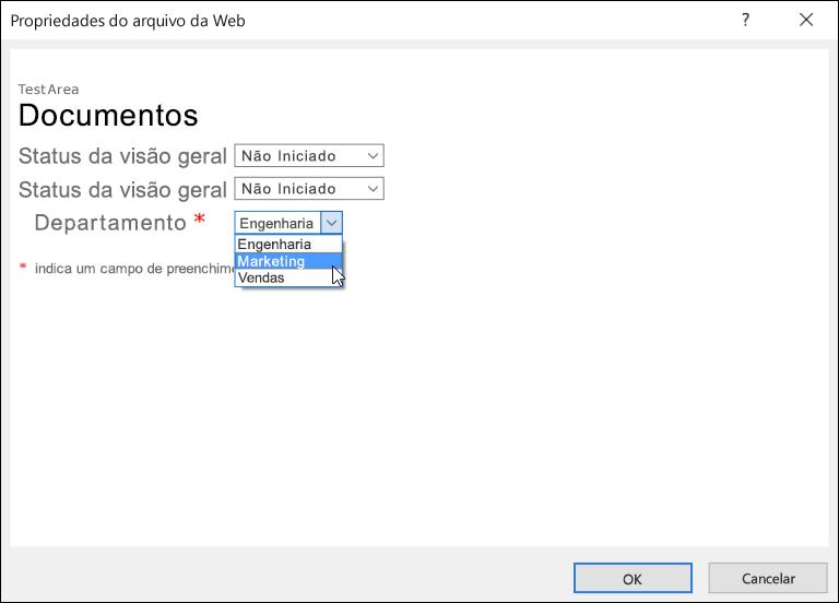 Caixa de diálogo Propriedades do Arquivo da Web com o campo Departamento exibindo uma lista de três opções.
