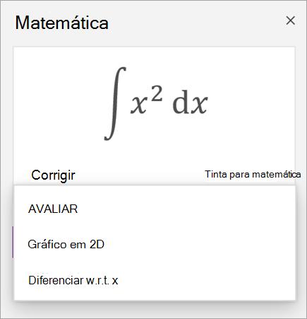 Equação de exemplo mostrando opções de solução para derivadas e integrais
