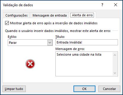 Opções de mensagem de erro suspensa de validação de dados