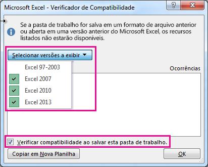 O Verificador de Compatibilidade mostrando as versões que devem ser verificadas