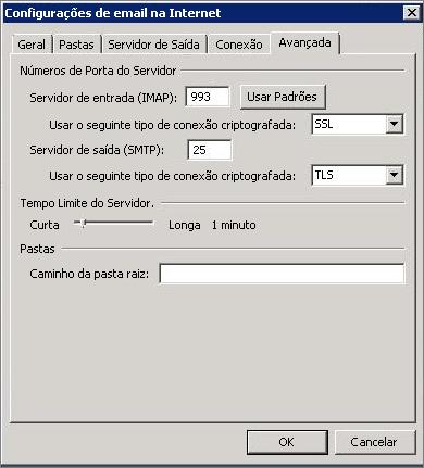 Captura de tela da guia Avançado na caixa de diálogo Configurações de Email da Internet.