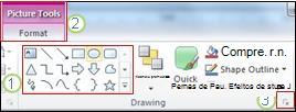 Exemplo de alguns dos outros recursos da Faixa de Opções no PowerPoint 2010.