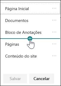 Inserir link na navegação à esquerda