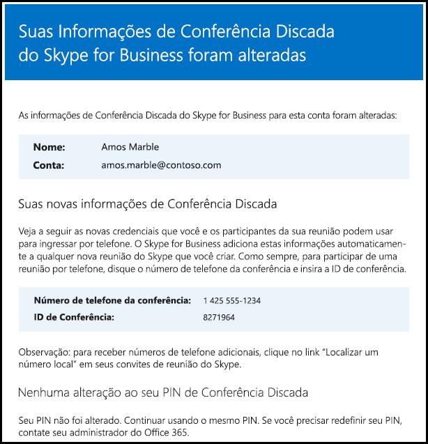 As informações sobre conferência discada foram alteradas.