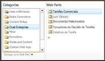 O Seletor de Web Part permite que você navegue para a Web Part Tarefas Comerciais que deseja inserir.