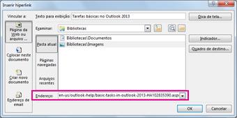 Caixa de diálogo Inserir hiperlink