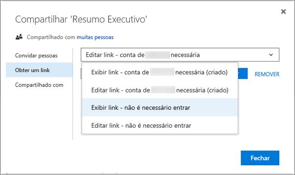 Captura de tela sobre como escolher um link
