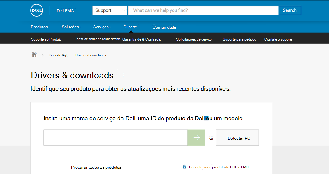 Exemplo de OEM de drivers e downloads da Dell