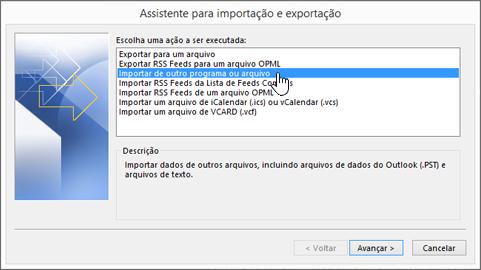 assistente de importação e exportação: importar de outro programa ou arquivo