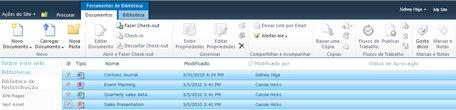 Biblioteca de documentos do SharePoint que tem vários arquivos marcados para check-out