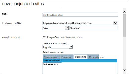 Caixa de diálogo novo conjunto de sites metade superior com o portal de publicação realçado