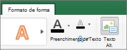Botão texto ALT para formas na faixa de opções do Excel para Mac