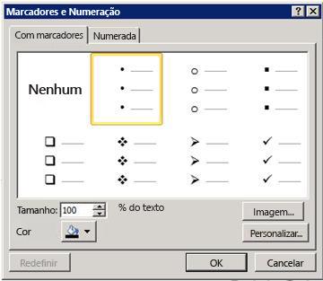 Caixa de diálogo marcadores e numeração