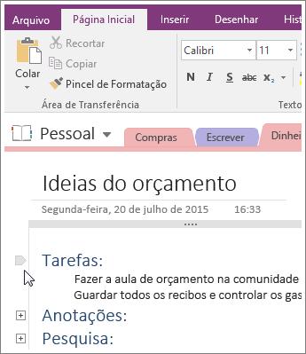 Captura de tela de como recolher uma estrutura de tópicos no OneNote 2016.