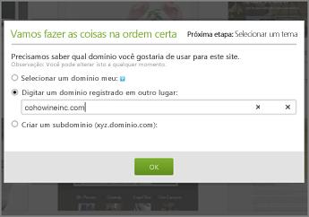 No GoDaddy, faça as coisas mais importantes primeiro; digite um domínio registrado em outro lugar