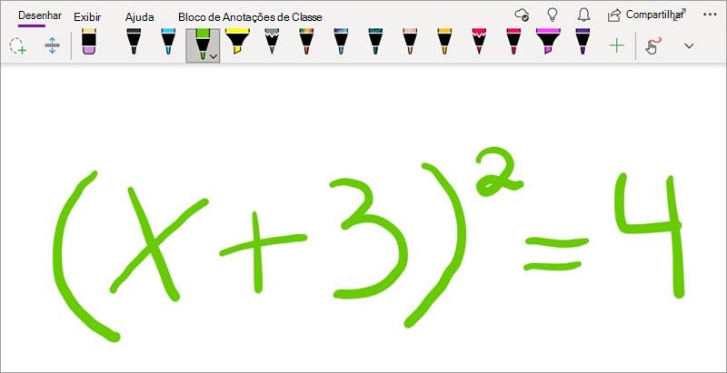 Escrever uma equação matemática no OneNote para Windows 10