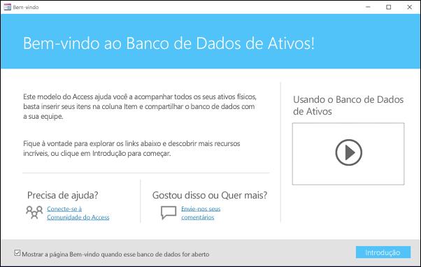Formulário de introdução em um modelo de banco de dados Ativos do Access