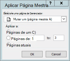 Uma captura de tela mostra a caixa de diálogo Aplicar Página Mestra.