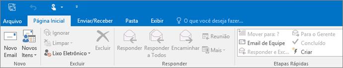 Essa é a aparência da faixa de opções no Outlook 2016.