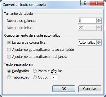caixa de diálogo converter texto em tabela