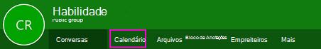 Botão calendário na faixa de opções grupos no OWA