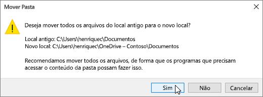 Uma captura de tela mostrando o aviso que aparece quando você clica em Selecionar pasta na selecionar uma caixa de diálogo de destino.