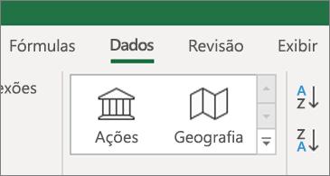 Guia de dados mostrando tipos de dados de Ações e Geografia