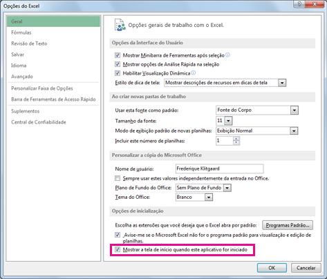 Opções de inicialização na caixa de diálogo Opções do Excel