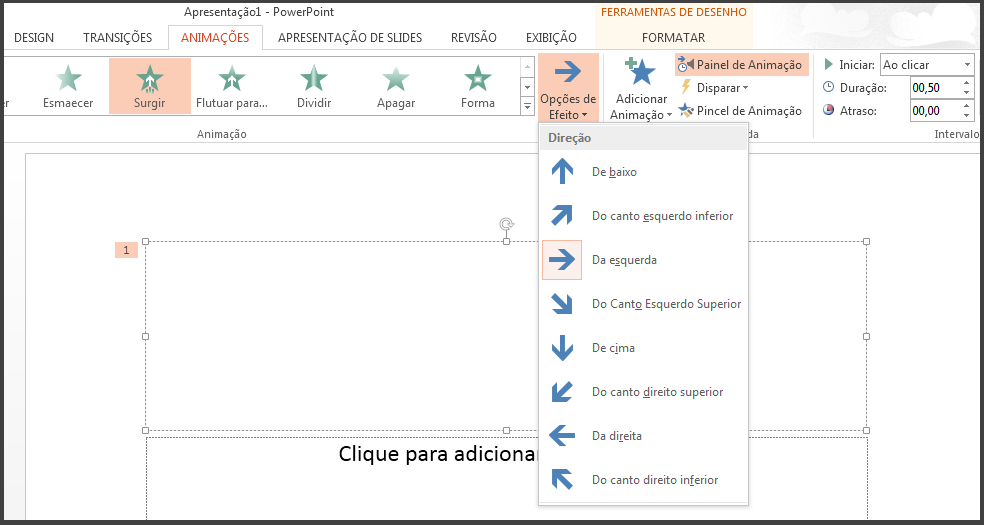 Configurações de um determinado efeito da barra de progresso.