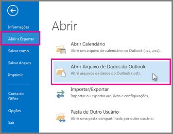Abrir um arquivo de dados do Outlook