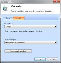 Caixa de diálogo Conexão, guia Valores, com configurações para a conexão com o Scorecard