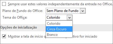 Menu suspenso de Tema do Office, opções de tema branco, cinza escuro e colorido