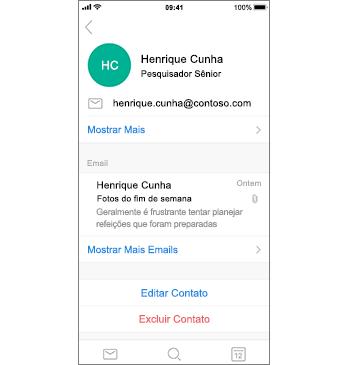 Página de contatos com Excluir Contato em texto vermelho