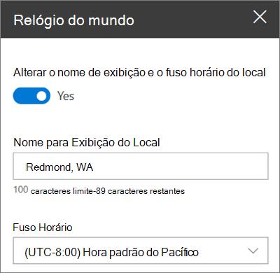 A caixa de ferramentas para a Web Part de relógio mundial dos sites do SharePoint, mostrando como personalizar um nome para exibição e um fuso horário