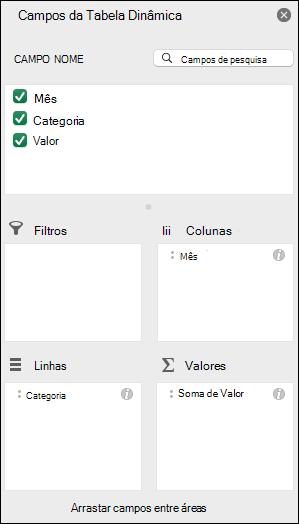 Exemplo do diálogo de lista de Campos da Tabela Dinâmica do Excel