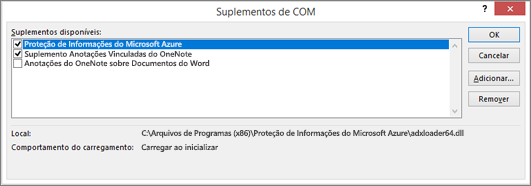 Use a caixa de diálogo Gerenciar Suplementos de COM para desabilitar ou remover suplementos indesejados