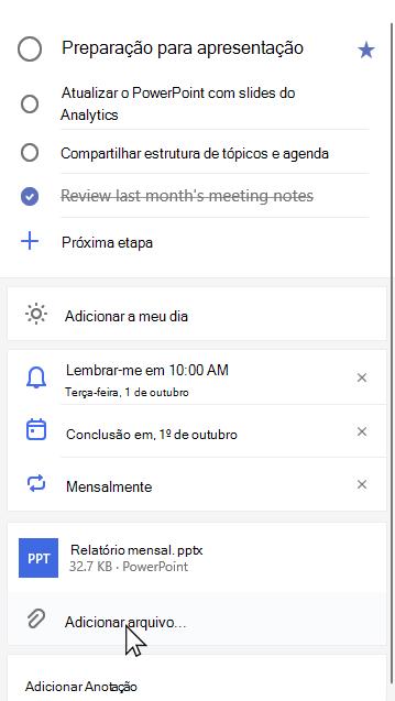 Modo de exibição de detalhes da preparação da tarefa para apresentação com relatório mensal. pptx anexado e opção para Adicionar arquivo selecionado