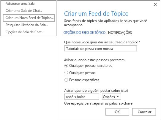 Captura de tela mostrando a seleção do menu e a janela para criar feeds de tópico