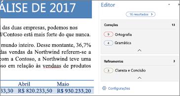 Painel Editor mostrando problemas de revisão de texto para corrigir em um documento aberto do Word
