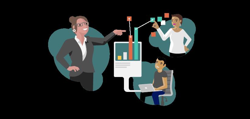 Ilustração mostrando dois especialistas ajudando alguém