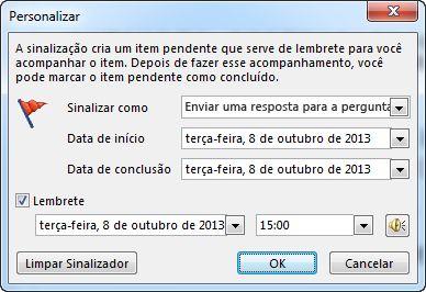 Caixa de diálogo Personalizado para definição de lembretes, datas de início e datas de conclusão