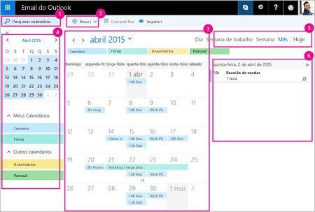 Use o calendário para gerenciar suas reuniões e outros eventos.
