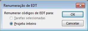 Imagem da caixa de diálogo Renumeração de EDT